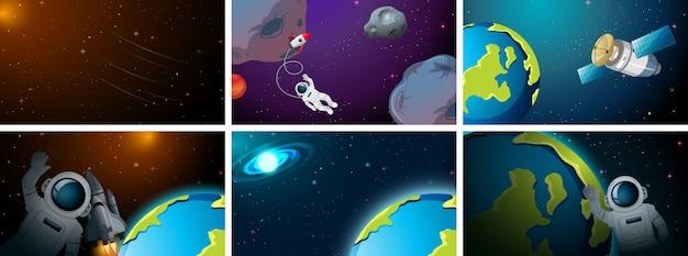 Set różna astronautyczna scena lub tło