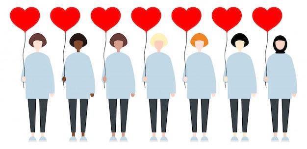 Set różnorodne biegowe wektorowe kobiety trzyma czerwień balonu serca. walentynki ładny płaski