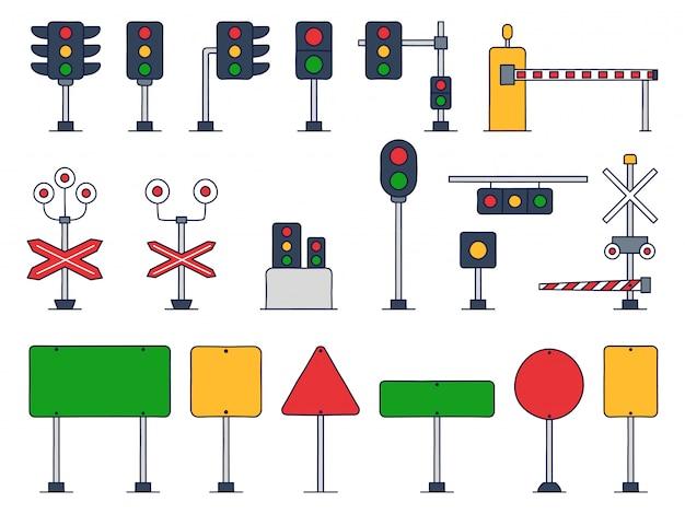 Set ruch drogowy kreskówki wektorowa ilustracja