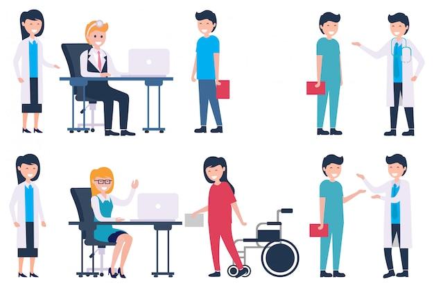 Set samiec, kobiety lekarka i medyczny personel opowiada each inną wektorową ilustrację