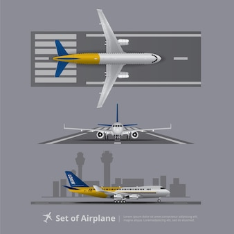 Set samolot na pas startowy odizolowywającej wektorowej ilustraci