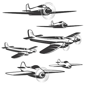 Set samolotowe ikony na białym tle. elementy logo, etykiety, godło, znak.