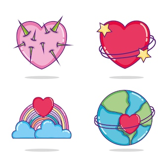 Set serce kreskówek ikon wektorowy ilustracyjny graficzny projekt