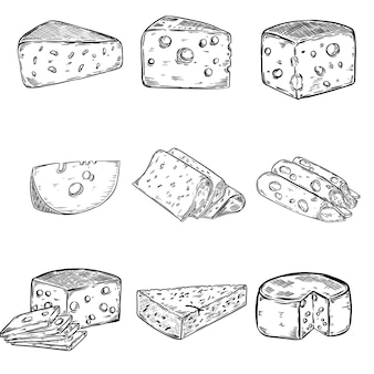 Set serowe ilustracje na białym tle. elementy plakatu, menu. ilustracja