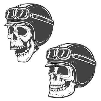 Set setkarz czaszki na białym tle. elementy, etykieta, godło, plakat, koszulka. ilustracja.