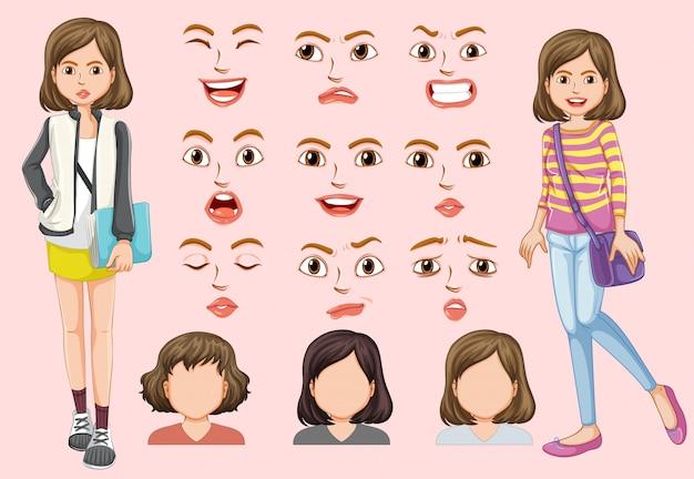 Set śliczna dziewczyna z różnym wyrazem twarzy