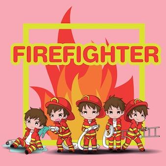 Set śliczna młoda chłopiec jest ubranym strażak kreskówkę