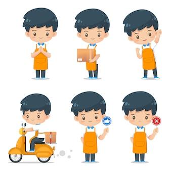 Set śliczna postać z kreskówki pomocy maskotki odzieży fartucha ilustracja