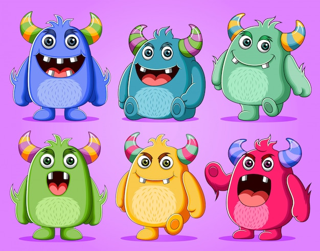 Set śliczna potwora charakteru ilustracja