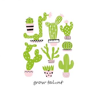 Set śliczni kaktusy. rozwijaj talent
