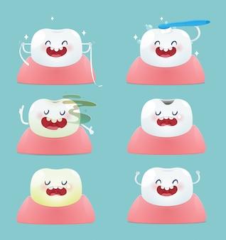 Set śliczni mali zęby ilustracyjny i wektorowy projekt - sumaryczni zdrowie i stomatologiczni problemy -