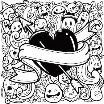 Set śliczni potwory i serce w doodle stylu