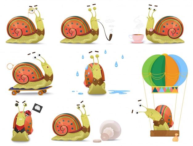 Set śliczny dżentelmenu ślimaczek w kamizelkowych aktywność ilustracyjnych.