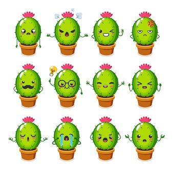 Set śliczny kaktusowy charakteru use dla ilustraci lub maskotki