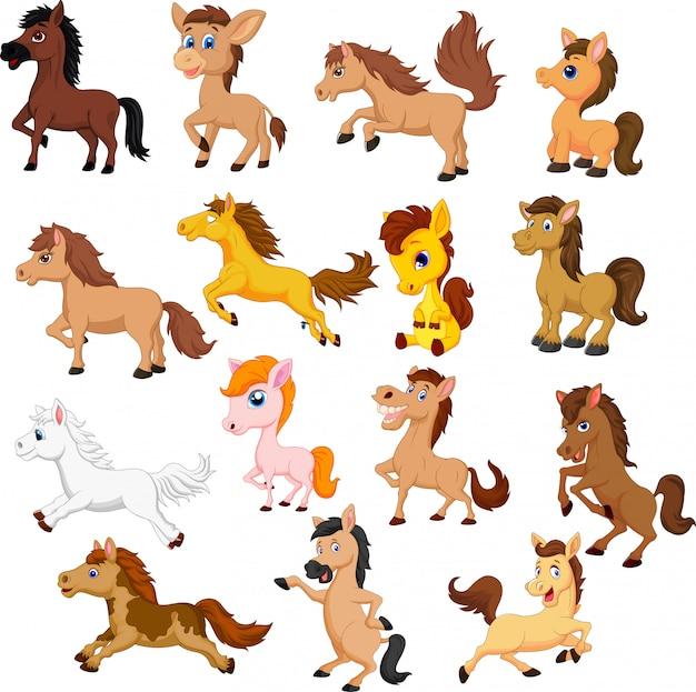 Set śliczny kreskówka koń odizolowywający