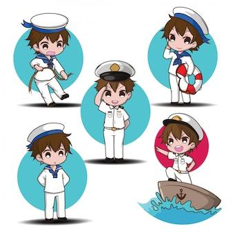 Set śliczny uśmiechnięty mały chłopiec charakter jest ubranym żeglarzy.