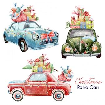 Set ślicznych bożych narodzeń retro samochody