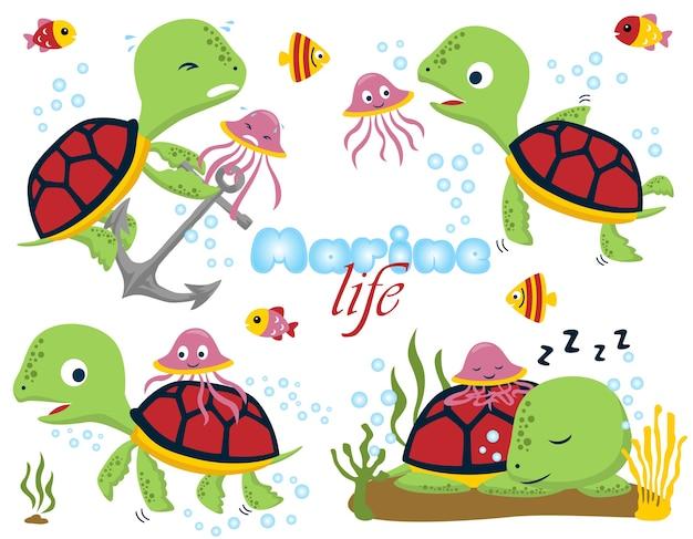 Set śmieszna żółw kreskówka z małymi przyjaciółmi