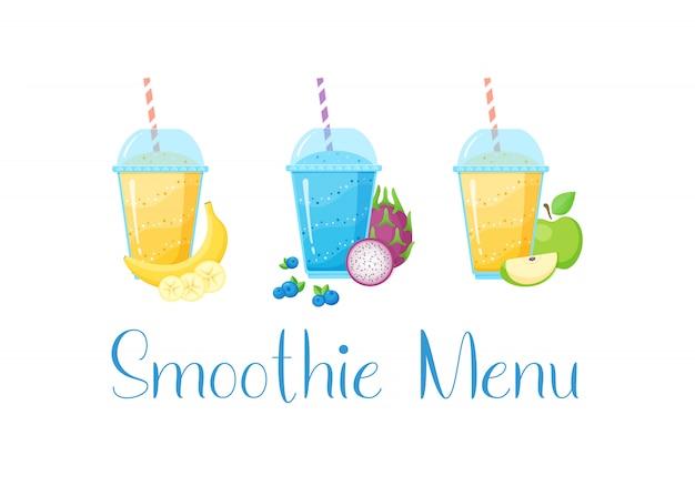 Set smoothie sztandaru witaminy napoju ilustracja