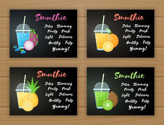 Set smoothie witaminy napoju ilustracja
