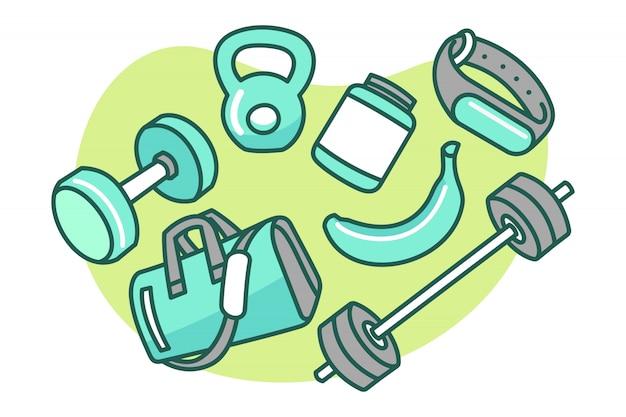 Set sprawności fizycznej i gym kreskówki ilustracja