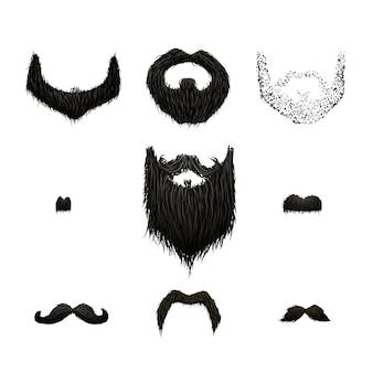 Set szczegółowi czarni wąsy i brody odizolowywający na bielu