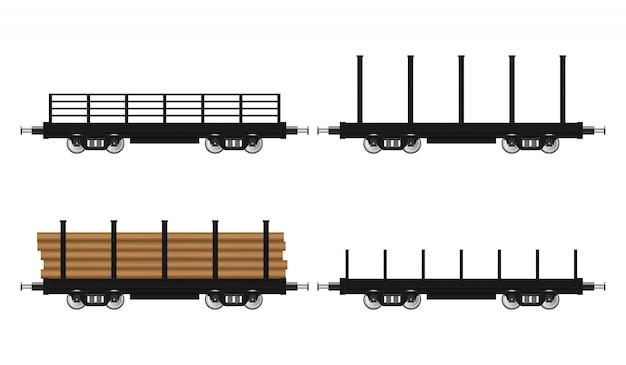 Set taborowa furgon ilustracja odizolowywająca na białym tle