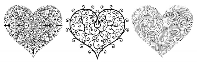 Set wektorowi abstrakcjonistyczni serca.