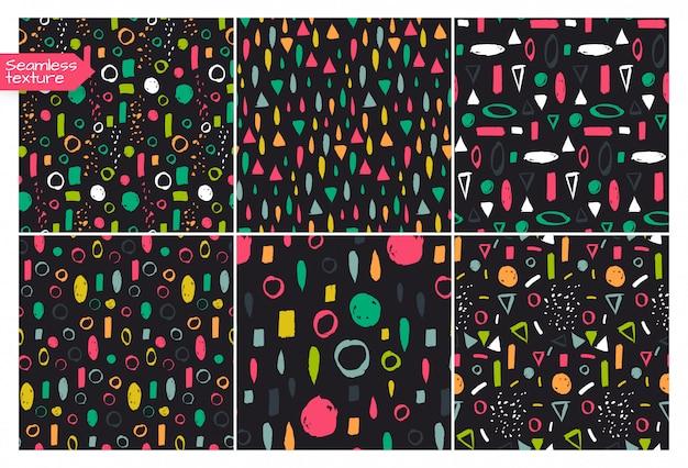 Set wektorowy bezszwowy deseniowy doodle styl.