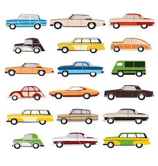 Set wektorowy stary samochód w '60
