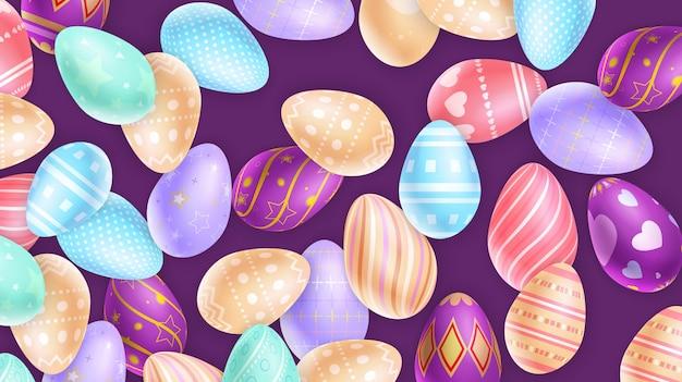 Set wielkanocnych jajek tło na purpurach