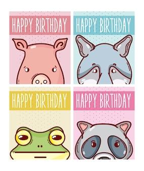 Set wszystkiego najlepszego z okazji urodzin zwierząt kart kolekci wektorowy ilustracyjny graficzny projekt