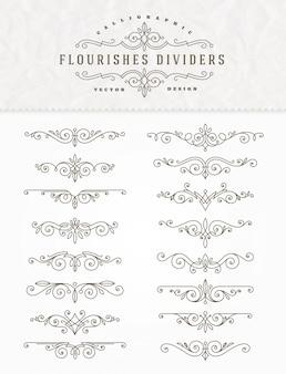 Set zawijasów ornamentu kaligraficzni eleganccy dzielniki - ilustracja