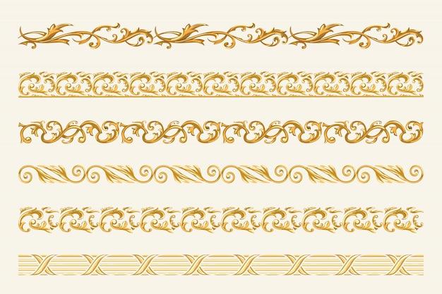 Set złociści łańcuchy i arkany odizolowywający na białym tle.