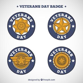 Set złote odznaki weterana dzień