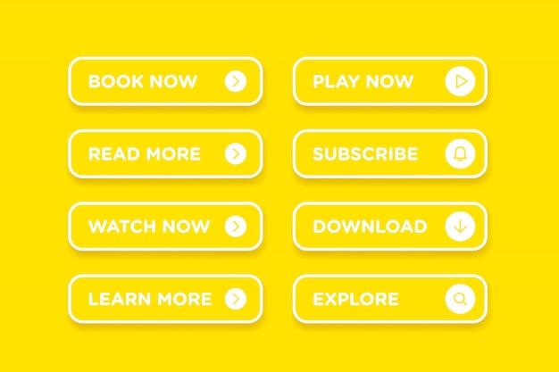 Set żółtego czystego stylu guzików ikony wektorowy nowożytny materiał