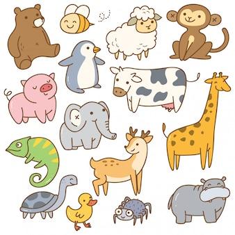 Set zwierzęcy kreskówka