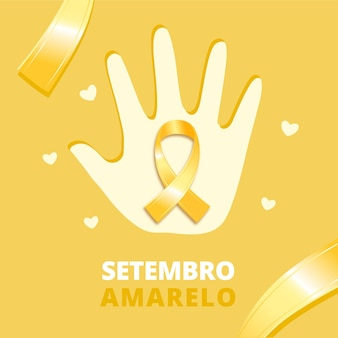 Setembro amarelo tło ręką