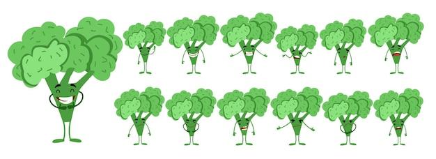 Seth to urocza postać brokuła z różnymi emocjami.