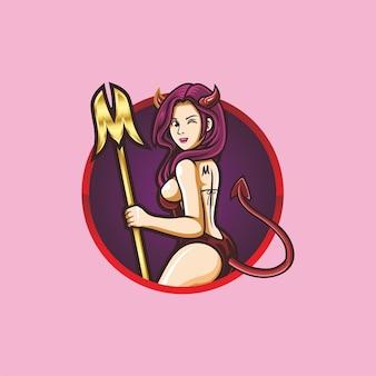 Sexy diabeł dziewczyna esport logo maskotka wektor