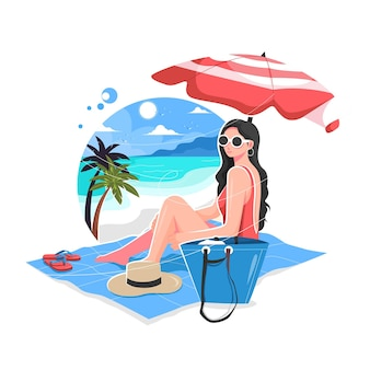 Sexy dziewczyna ciesząc się latem na plaży ilustracji wektorowych