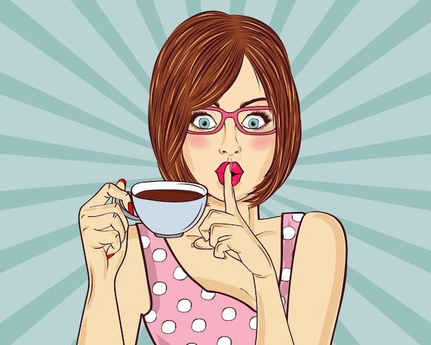 Sexy kobieta pop-art z filiżanki kawy. plakat reklamowy w stylu komiksu.