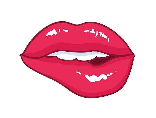 Sexy usta z jaskrawoczerwone błyszczące usta ugryzione na białym tle. symbol miłości, pocałunku, namiętności i pożądania seksualnego. piękny romantyczny element projektu. ilustracja wektorowa kreskówka komiks.