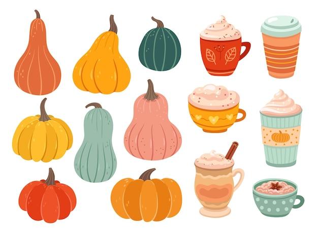 Sezon dyniowy. kreatywne proste dynie, dojrzałe odmiany obiektów natury. spice latte smaczna kawa, gorący napój lub deser ilustracja wektorowa. kubek do napojów, napoje sezonowe, kolekcja deserów dyniowych