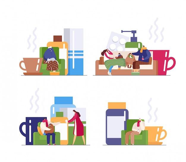 Sezon grypowy zestaw ilustracji osób w rodzinie cierpiących na przeziębienie, wirusy i dbających o zdrowie w domu