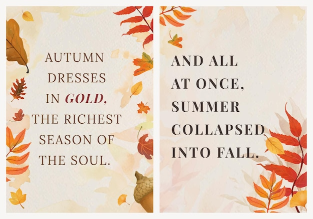 Sezon jesienny cytat szablon wektor zestaw na plakat