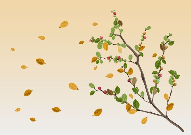 Sezon jesienny. gałąź żółty liść. ilustracja w formacie