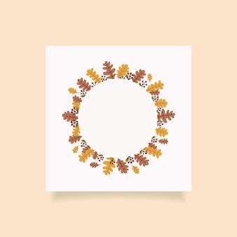 Sezon jesienny okrągła konstrukcja ramy z wolnym miejscem na tekst. ilustracja wektorowa