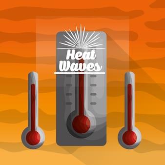 Sezon letni czerwony trzy termometry upał dzień fale