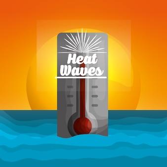 Sezon letni termometr upał fale sunshine oceanu